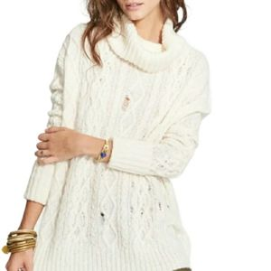 Free People Complex Oversize Cable Knit Ivory